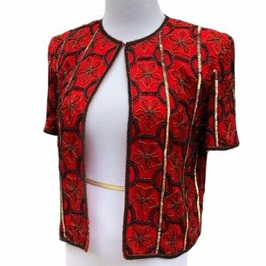 Papell Boutique Sequined Top Jacket